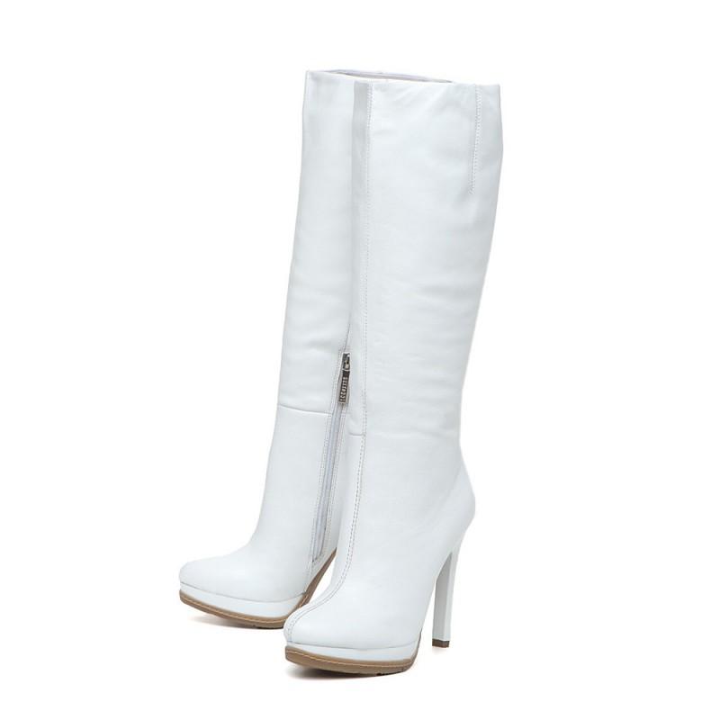 Сапоги белые женские кожаные купить